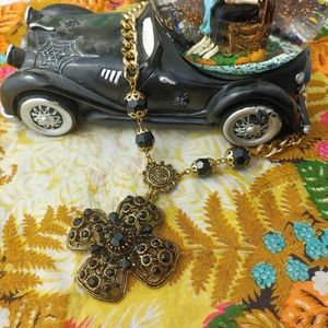 Heavy Vampire Cross Medallion Chain Necklace